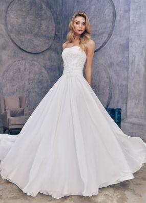 Свадебное платье с декольте и вышивкой ZTB022