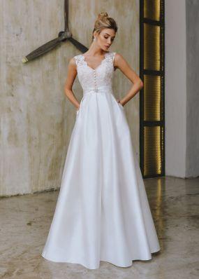Атласное свадебное платье с кружевом ZTB023