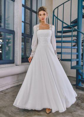 Длинное свадебное платье из шифона ZTB024