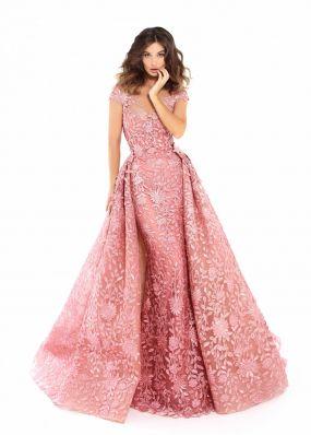 Вечернее платье из цветочного кружева TarikEdiz ZTZ045