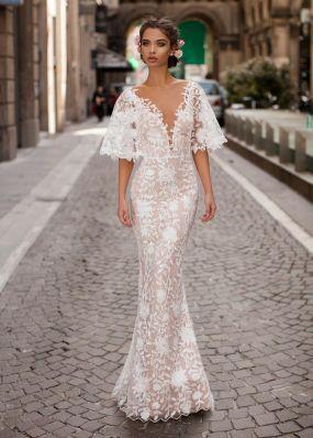 """Кружевное свадебное платье с рукавами """"летучая мышь"""" TarikEdiz ZTZ046"""