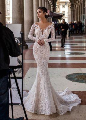 Свадебное платье с длинными рукавами TarikEdiz ZTZ047
