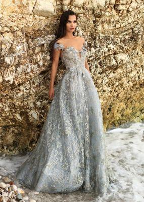 Светло-голубое платье из фатина и золотистого кружева TarikEdiz ZTZ053