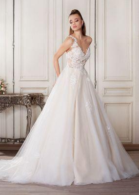 Пышное свадебное платье расшитое кружевом ZVN003