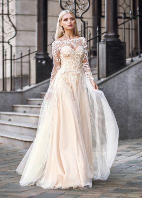 Бежевое свадебное платье с рукавами ZVT001