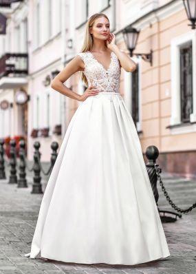 Свадебное платье с атласной юбкой ZVT002