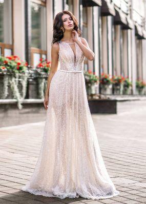 Полупрозрачное свадебное платье ZVT007