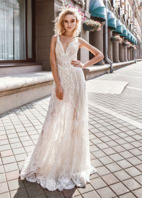Открытое свадебное платье из кружева ZVT009