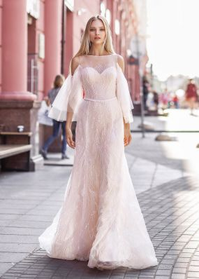 Свадебное платье расшитое бисером ZVT010