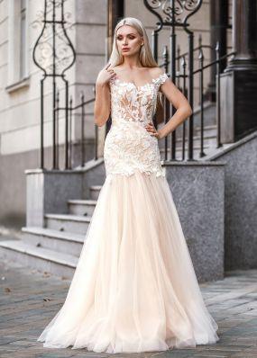 Свадебное платье силуэта русалка с фатиновой юбкой ZVT018