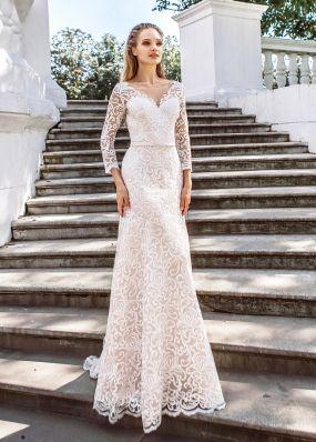 Прямое кружевное свадебное платье ZVT032
