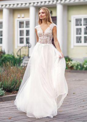 Свадебное платье с v-образным вырезом ZVT039