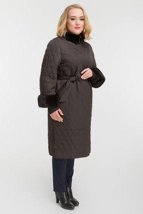 Стильное стеганое пальто осень-зима с норкой