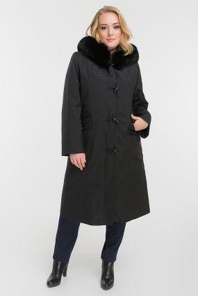 Пальто на кролике для больших размеров с мехом песца