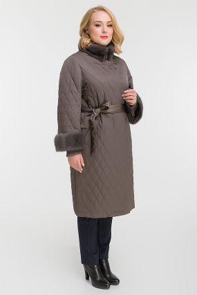 Длинное стеганое пальто с норкой