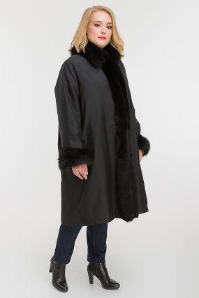 Зимнее пальто на меху кролика для больших размеров