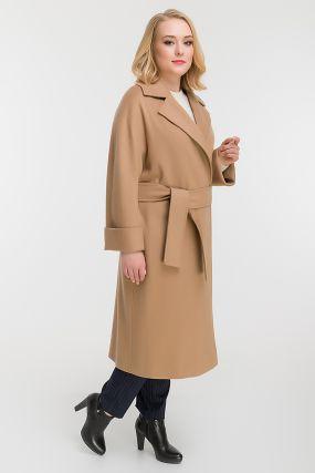 Классическое пальто с английским воротником для больших размеров