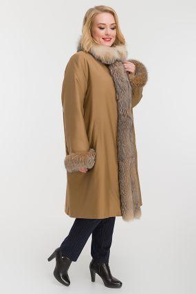 Теплое пальто на меху для больших размеров
