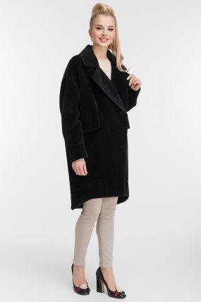 Пальто кокон из альпака с асимметричным подолом
