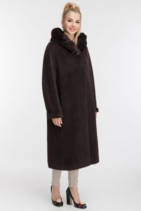 Стильное длинное пальто из альпака с капюшоном