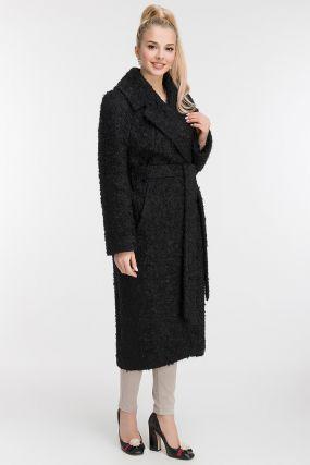 Длинное пальто из шерсти с английским воротником