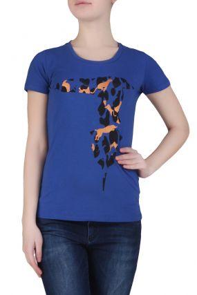 Синяя футболка с анималистичным узором