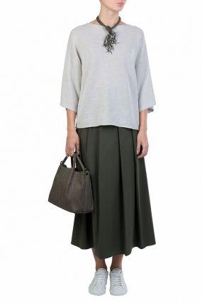 Серо-зеленая юбка-макси