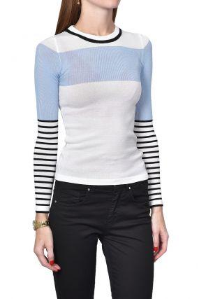 Облегающий пуловер с рукавами в полоску
