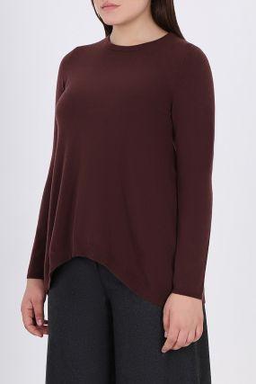 Бордовый удлиненный пуловер