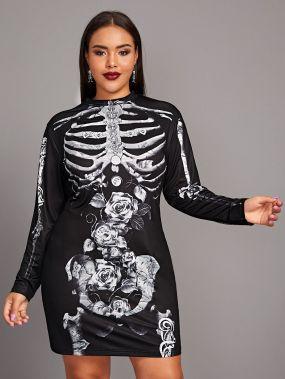 Платье размера плюс с круглым вырезом и принтом