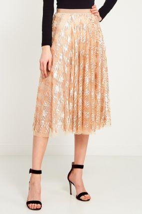 Бежевая юбка с пайетками
