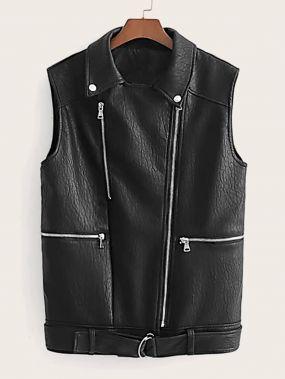 Пальто-жилет из искусственной кожи с поясом
