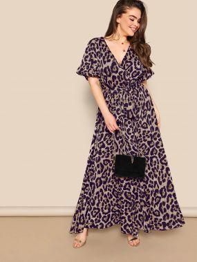 Платье размера плюс с леопардовым принтом и поясом