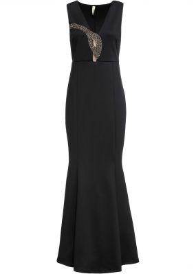 Вечернее платье макси с нарядной аппликацией