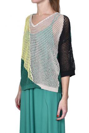 Разноцветный сетчатый пуловер
