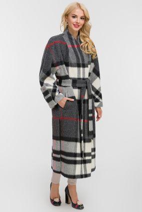 Длинное пальто из альпака на запахе