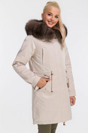 Теплая итальянская куртка с песцом