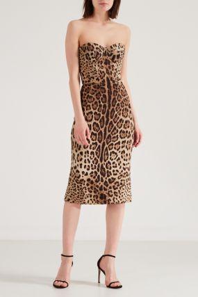 Леопардовое платье-бюстье