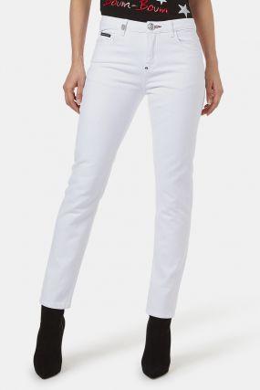 Белые джинсы с декоративной деталью