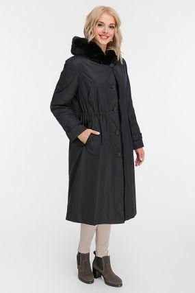 Длинное женское пальто на кролике