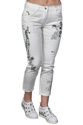 Укороченные джинсы с вышивкой