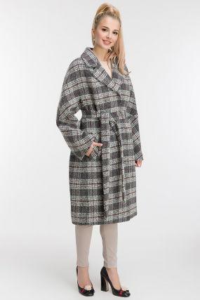 Женское утепленное пальто в клетку