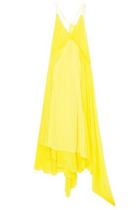 Желтое шелковое платье с кружевом