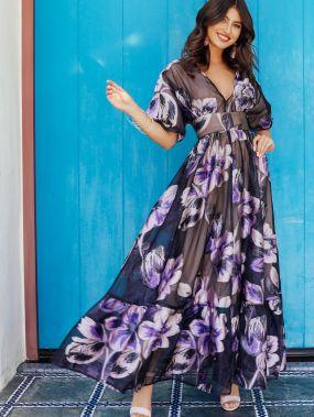 Платье с цветочным принтом и широким поясом