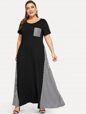Размера плюс контрастное плоское платье в полоску