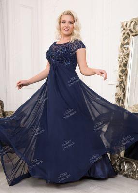 Темно-синее шифоновое платье CH0028BXL