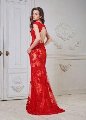 Красное платье из кордового кружева CH002B