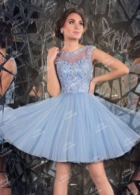 Короткое вечернее платье с плиссированной юбкой CH0032BY1