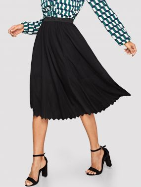Однотонная юбка-клеш