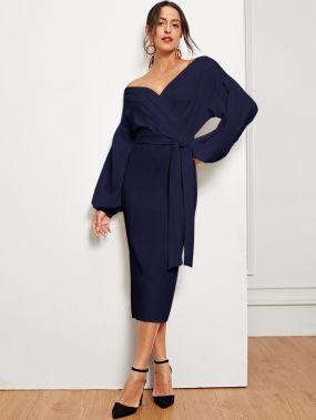 Деловая одежда Одноцветный Тёмно-синие Платья